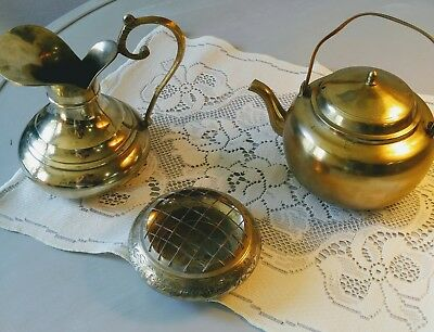 Antique Lot, Brass Art Deco: Solid Brass Teapot, Pitcher, Ashtray (India)