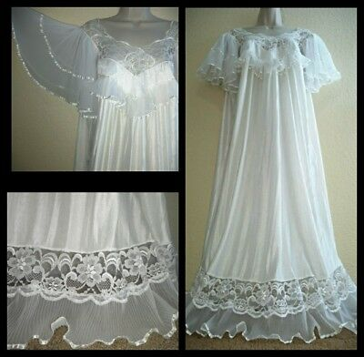 Vintage ANGEL WING Pleated Sheer CHIFFON Gown NIGHTGOWN White SATINY Soft L/XL