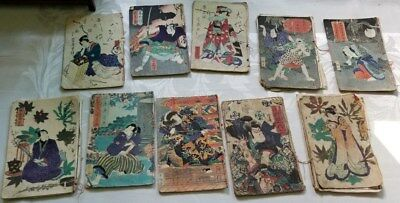 Japanese woodblock print Book Lot. 10 mangas.