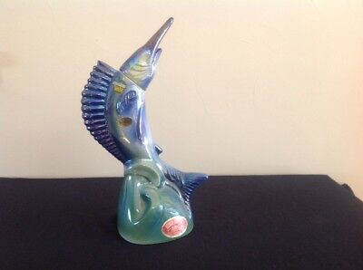 1970 EZRA BROOKS Blue Marlin Fish Decanter Collectible Whiskey Bottle EMPTY