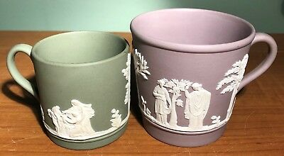 2 WEDGWOOD JASPERWARE COFFEE/ TEA MUGS CUPS- GREEN & PURPLE j