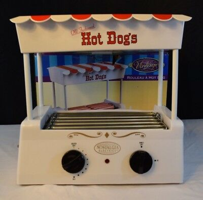 Nostalgia Old Fashioned Electric Hot Dog Roller Cooker Bun Warmer Red White EUC