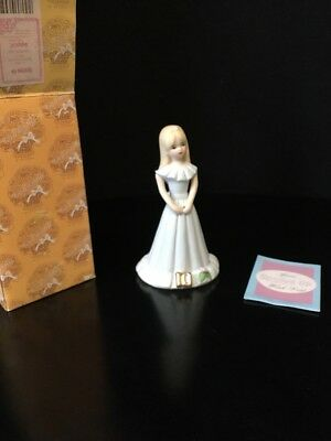 Enesco Growing Up Birthday Girls Blonde Figurine Age 10 1981 Vintage NIB E-2310