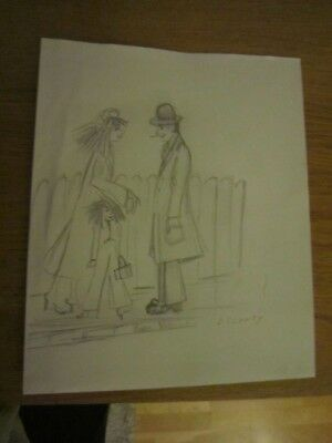 drawing signed l s lowry selling in the style of l s lowry