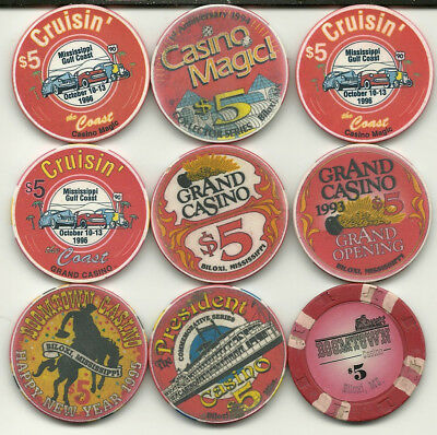 Nine  Different $5. Chips from  Biloxi, Mississippi