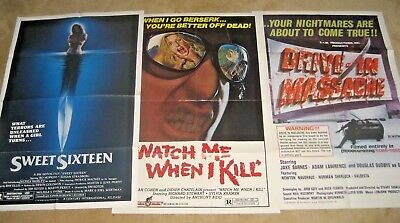 LOT OF 3   SLASHER / HORROR MOVIE POSTERS !  Drive in massacre !  MORE !