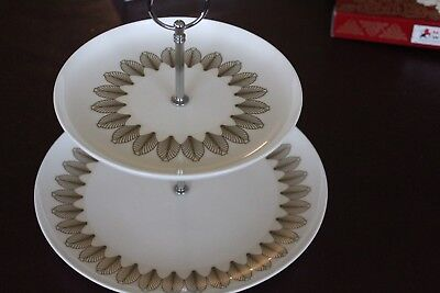 "Cake Stand Maxwell & Williams two tiered fine bone china ""Putting on the Ritz"""