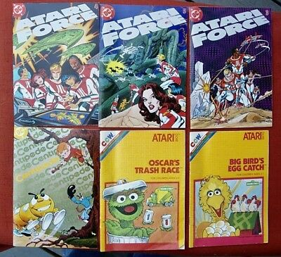 6 Atari Comic Books*dc Force Centipede*ccw Big Bird & Oscars Trash Race
