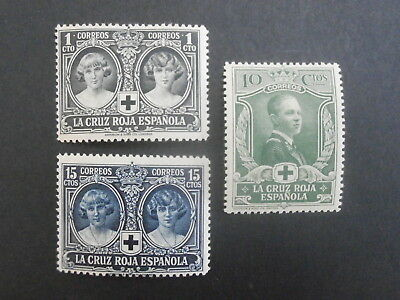 1926 Spain  set of 3 mint  stamps - Spanish Red Cross - 1c, 10c & 15c