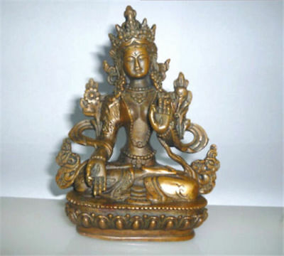 Old Tibetan Buddhism Bronze Kwan-yin White Tara Buddha Statue Height 13.0 cm