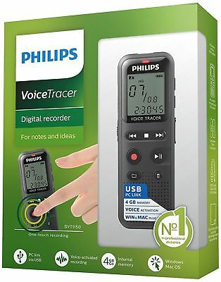 "Philips DVT1150 Voice Tracer Audio Recorder Notes Recording 4 GB - 1.3"" LCD™"