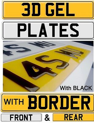PAIR of 3D Black Domed Resin Raised Gel Car Number Plates Road Legal WITH BORDER