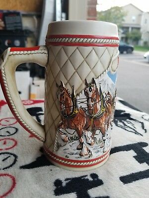 Vintage Budweiser Clydesdale 1985 Holiday Beer Stein A Series limited edition