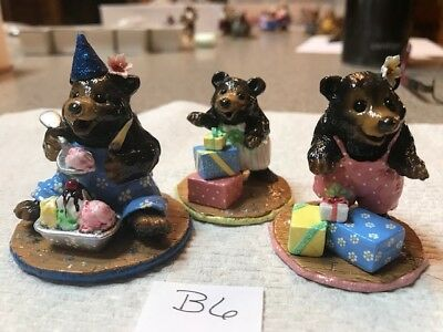 Wee Forest Folk Bears, group of 3 Birthday or Holiday Bears