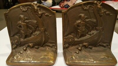 VINTAGE VIKING SHIP PLATED CAST IRON BOOK ENDS circa  1920's Antique super clean