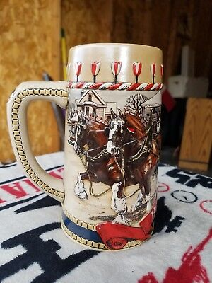 Vintage 1986 Budweiser Holiday Beer Stein Series B Perfect Condition