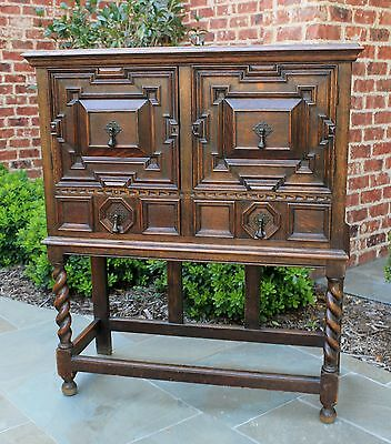 Antique English Tiger Oak Jacobean Tudor BARLEY TWIST Bar Cabinet Bookcase