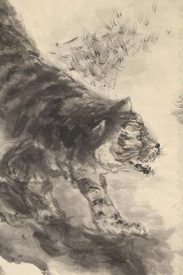 """JAPANESE HANGING SCROLL ART Painting """"Tiger"""" Asian antique  #E3960"""
