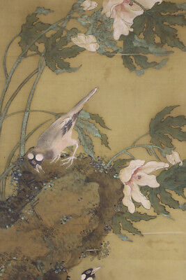 """JAPANESE HANGING SCROLL ART Painting """"Bird and Flower"""" Asian antique  #E3937"""