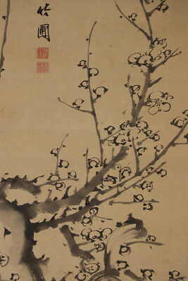 """JAPANESE HANGING SCROLL ART Painting """"Plum Blossoms""""  Asian antique  #E3951"""