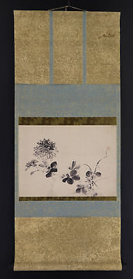 """JAPANESE HANGING SCROLL ART Painting """"Flowers"""" Asian antique  #E3940"""