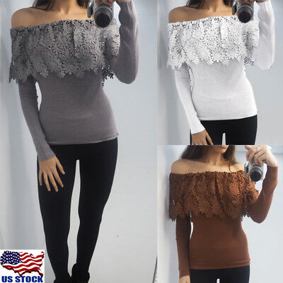 Fashion Women Lace Slim Off Shoulder Shirt Crop Tops Long Sleeve Blouse Sweater
