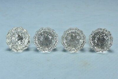 """Vintage SET of 4 12 POINT 2"""" CRYSTAL GLASS DOOR KNOBS with BRASS FITTINGS #06134"""