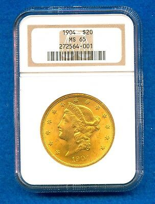 1904 $20 Gold Liberty Head Double Eagle Ngc Ms65