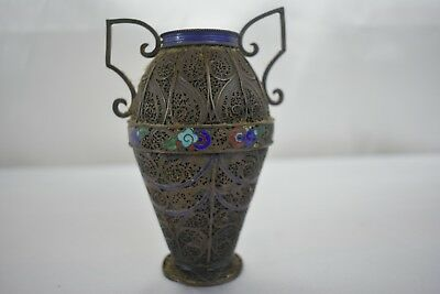 Antique Enamel On Sterling Silver Chinese Filigree Vase 112g
