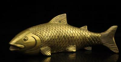 China old antique hand made brass goldfish statue /daqing mark e01
