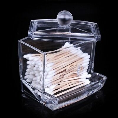 Clear Acrylic Cotton Swab Q Tip Storage Holder Box Cosmetic Makeup Organizer Gl