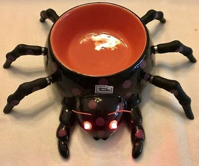 DEPARTMENT 56 HALLOWEEN Illuminated SPIDER SERVING BOWL & SPREADERS NEW IN BOX
