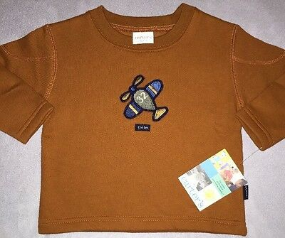 NEW Carters Sweatshirt, Size 9-12 Months Fly By Airplane. Orange. Free Shipping