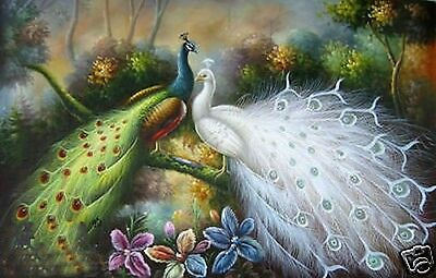 """Art Repro oil painting:""""Beautiful of Peacocks at canvas"""" 24x36 Inch"""