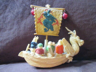 Vtg Japanese Celluloid Winged Dragon Boat Ship 7 Immortals Gods Figures Asian
