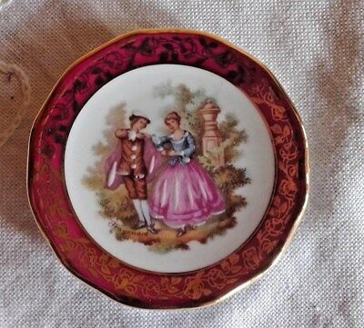 "Limoges France Miniature Plate ""Veritable Porcelaine D'Art OR"" Rehausse Main 7cm"