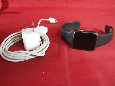 Apple Watch Space Gray Aluminum Case 38mm Series 7000 w Black Band