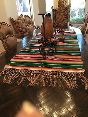 "MEXICAN VINTAGE 40s SERAPE RUNNER WOOL/COTTON CENTER 58""X31"" 8"" FRINGE TOTAL 74"""