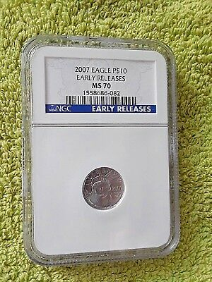 2007 1/10 oz $10 Platinum Eagle MS70 Early Release, NGC  LOW PRICE!!