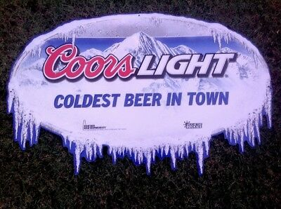Coors Light Embossed Beer Sign Coldest Beer In Town 2011. NOS Free Shipping 🍻