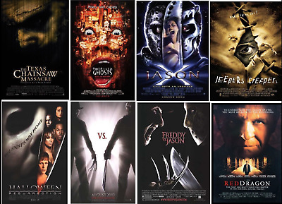 10 HORROR MOVIE POSTERS LOT: HALLOWEEN FRIDAY 13th TEXAS CHAINSAW NIGHTMARE ELM