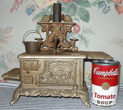c.1900 HOME Cast Iron Toy Stove, J & E Stevens, Nickel-Plated Antique, Victorian