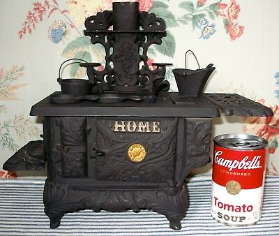 Antique c.1900 HOME Cast Iron Toy Stove, J & E Stevens, CLOCK on Oven Door!