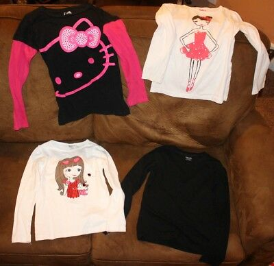Lot of 4, Girls Size M/7-8, Long-Sleeved Shirts, Pre-owned