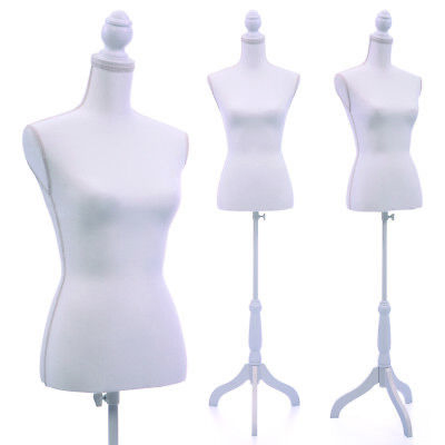 Female Mannequin Torso White Clothing Display W/ White Tripod Stand New