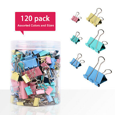 120/100 Pcs Multi-Colored Assorted Metal Binder Clips for Document Organization