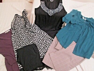 7 PC Lot Dressy Business Maternity Womens Tops Pants Skirt Fall Winter M/L