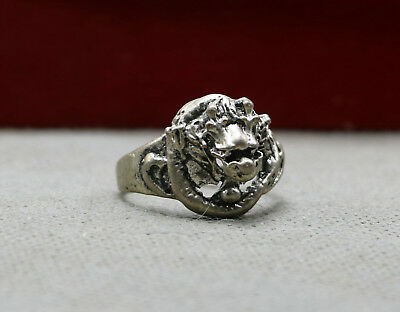 30mm Chinese Ancient Miao Silver Fashion Men's Dragon Head Beast Wedding Ring