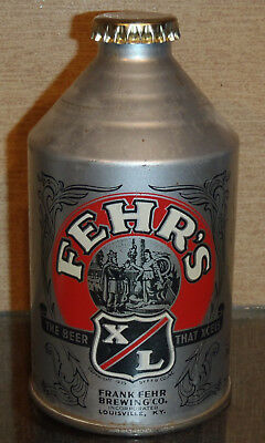 1930s FEHR'S X/L CONE TOP BEER CAN CROWNTAINER NON-IRTP SILVER BUMPER LOUISVILLE