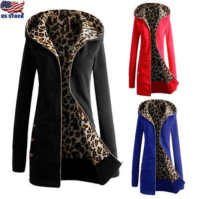 Womens Hooded Leopard Winter Warm Thicken Long Coat Ladies Jacket Parka Overcoat